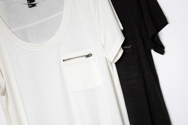 Top t shirt pocket zipper black white shirt wheretoget for Travel shirts with zipper pockets