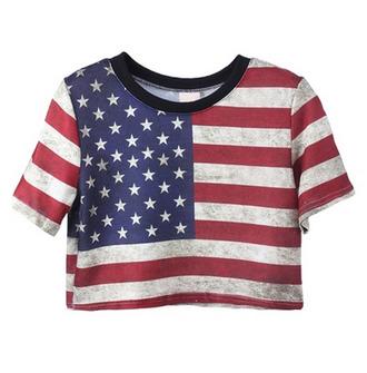 top shirt american flag crop top