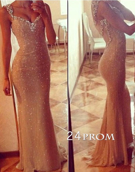 Custom Made Sweetheart neckline Sequin Long Prom Dresses, Formal Dresses - 24prom