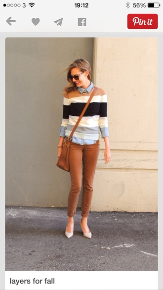 striped camel black and white sweater