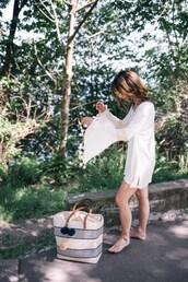 dress,tumblr,mini dress,white dress,bell sleeves,bell sleeve dress,bag,beach bag,long sleeves,long sleeve dress