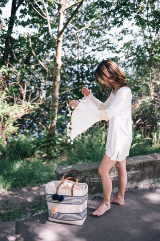 dress tumblr mini dress white dress bell sleeves bell sleeve dress bag beach bag long sleeves long sleeve dress
