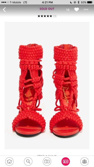 shoes high heel sandals red heels braided shoes