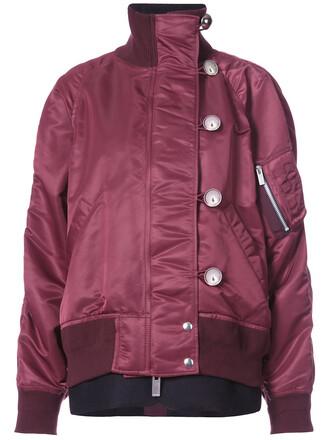 jacket bomber jacket oversized women cotton wool red