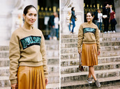 vanessa jackman,blogger,pleated skirt,jumper,camel,quote on it,sequins,sweater,skirt,shoes