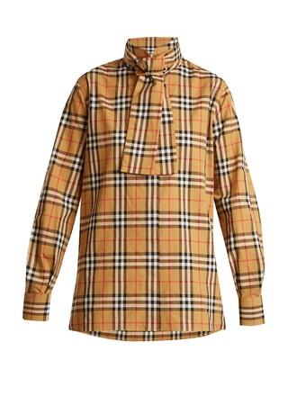 shirt high cotton print beige top