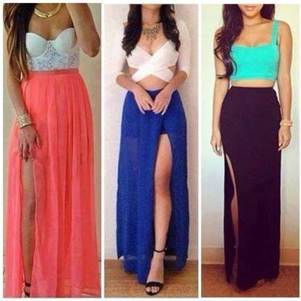 skirt girly girly grunge blue skirt maxi skirt crop tops