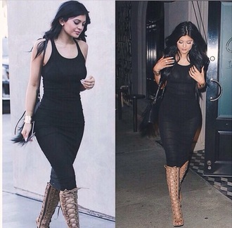 dress black dress high heels kylie jenner shoes