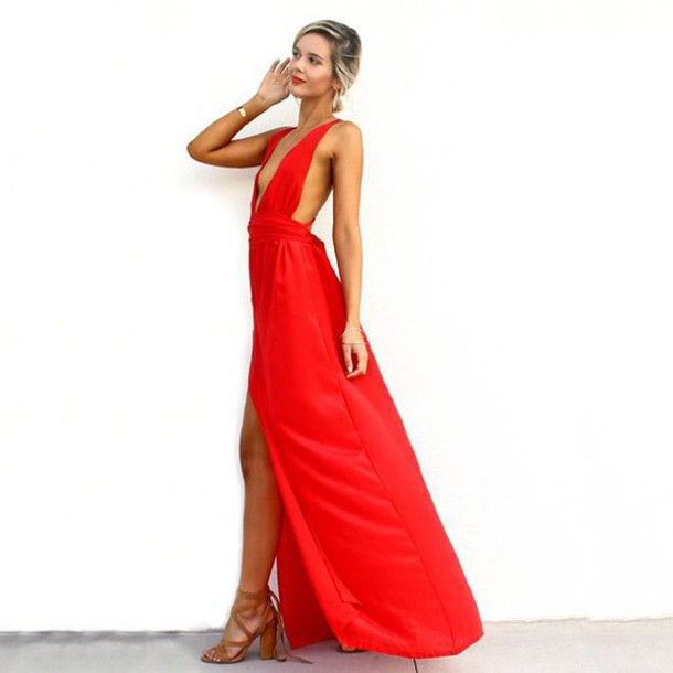 Dress: sisters the label, red silk dress, backless dress, red ...