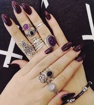jewels rings purple silver tumblr jewellery pentagon stone tumblr girl grunge grunge jewelry drudenfuß rose moon belly ring crystal ring black stone ring