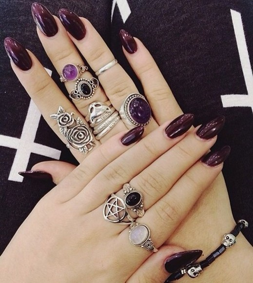 jewels rose drudenfuß moon belly ring crystal ring black stone ring ring purple silver tumblr pentagon stone tumblr girl grunge grunge jewelry