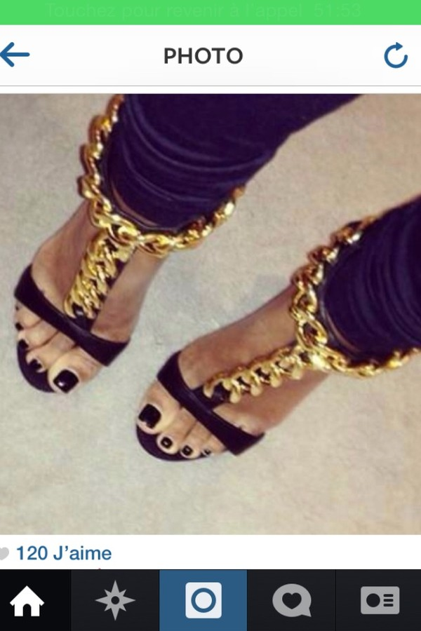 shoes gold heels black leather fashion chain mid heels