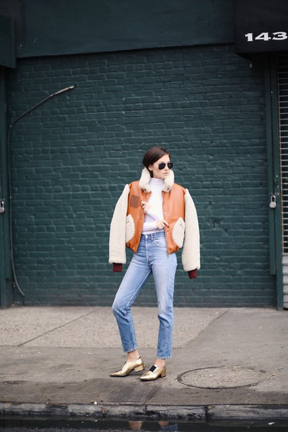 we wore what blogger bomber jacket gold shoes winter jacket jacket shoes