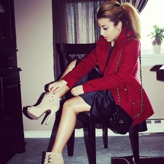 coat red coat ponytail