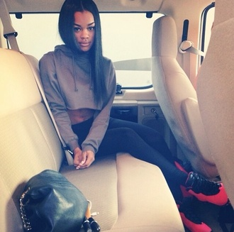 sweater cute grey teyana taylor comfy blouse shoes jordans black girls killin it cropped hoodie dope sneakers pink