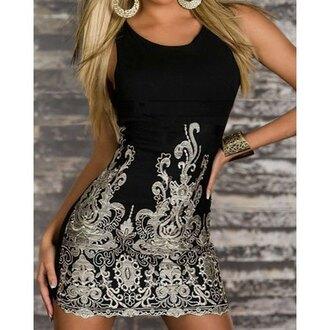 dress black dress sexy dress style rose wholesale embroidered elegant clubwear club dress classy party stylish