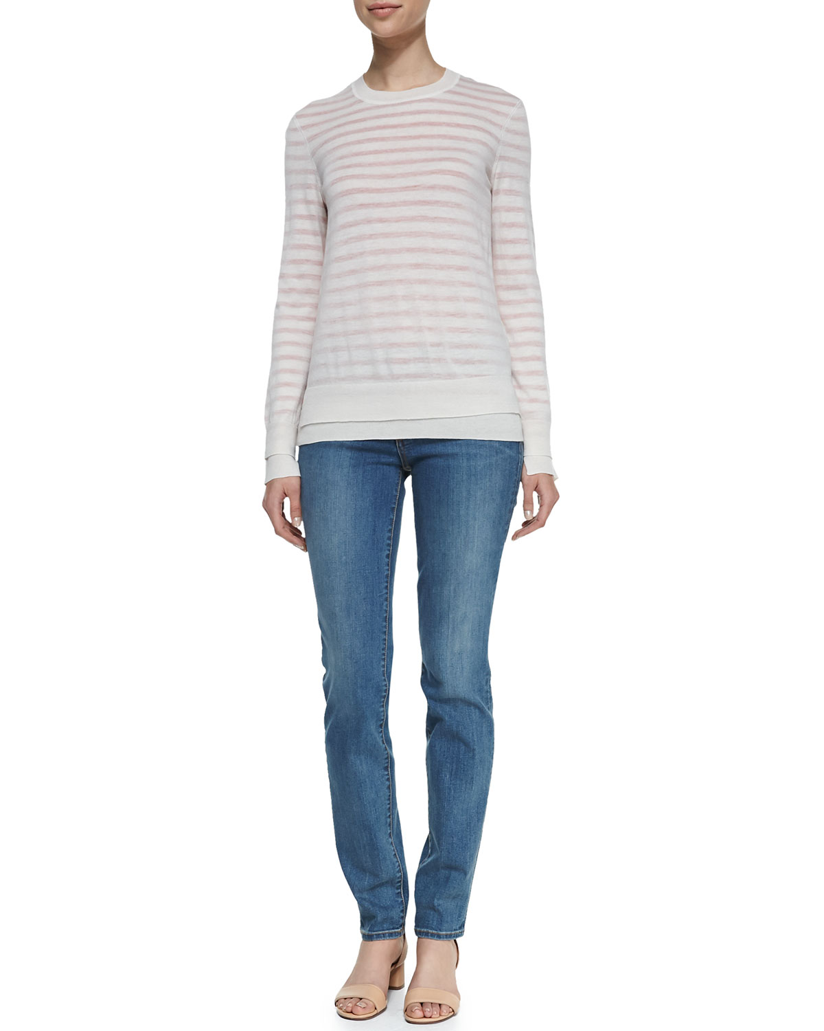 Naia Crewneck Wool Sweater & Super Skinny Denim Jeans