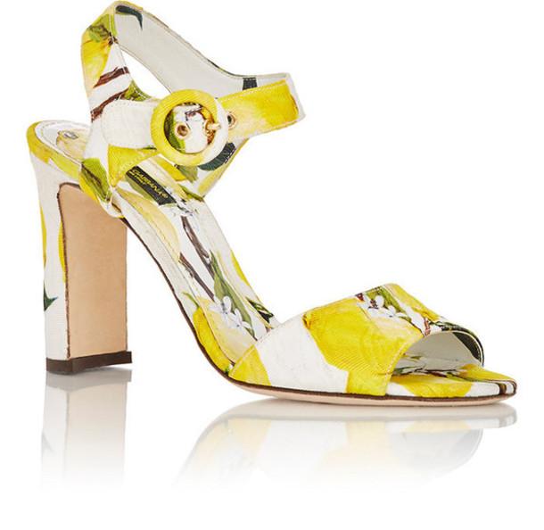 shoes dolce and gabbana block heels sandals yellow lemon print high heel sandals