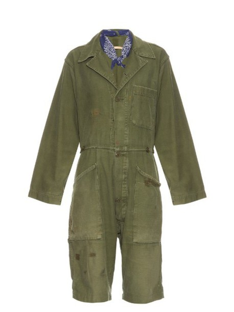BLISS AND MISCHIEF Distressed vintage cotton jumpsuit in khaki