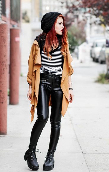 striped shirt t-shirt blogger le happy coat knitted beanie leather pants
