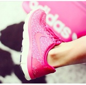 shoes,nike,pink nike,nike running shoes,nike sneakers,pink,running shoes,glitter,nike shoes,print,sporty,cute,excercise,sneakers,pink shoes,pink glitter nike,hot pink glitter nikes,sparkle,sparkly shoes,sparkly nikes,pink sparkly nikes