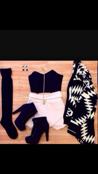 top crop tops black crop top aztec shoes high heels skirt socks black heels cardigan