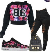 sweater,bag,swag,jacket,jeans,shoes,nike,nike air force 1,floral,roses,pink,black,shirt,cropped hoodie,floral sweater,number