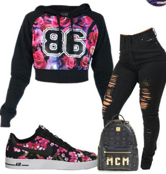 sweater bag swag jacket jeans shoes nike nike air force 1 floral roses pink black shirt cropped hoodie floral sweater number