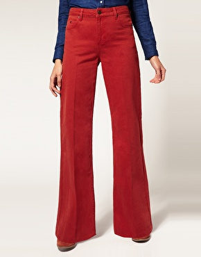 Asos red high waist flare jeans at asos
