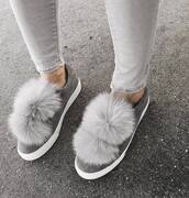 shoes,tumblr,sneakers,grey sneakers,pom poms,low top sneakers