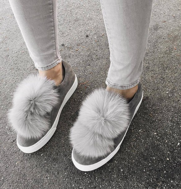 Shoes Tumblr Sneakers Grey Sneakers Pom Poms Low Top