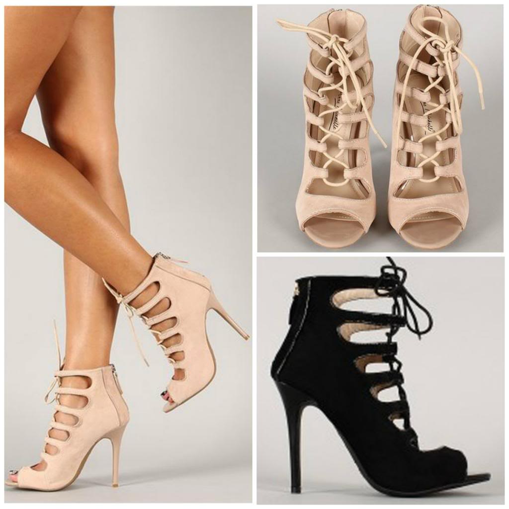 Black Lace Up Gladiator Heels - Is Heel