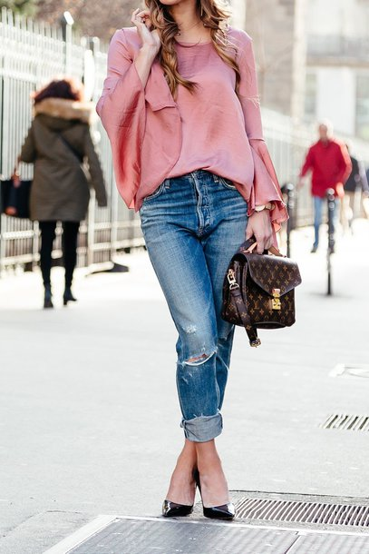 386084268dfe5 blouse pink top black heels tumblr pink blouse bell sleeves top denim jeans  blue jeans ripped