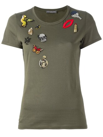 t-shirt shirt embroidered green top