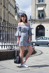 meet me in paree,blogger,dress,bag,shoes,bardot dress,stripes,striped dress,mini dress,bell sleeves,bell sleeve dress,off the shoulder,off the shoulder dress,black choker,choker necklace,black neckalce,three-quarter sleeves,bucket bag,black bag,adidas shoes,adidas,stan smith,low top sneakers,white sneakers,sneakers