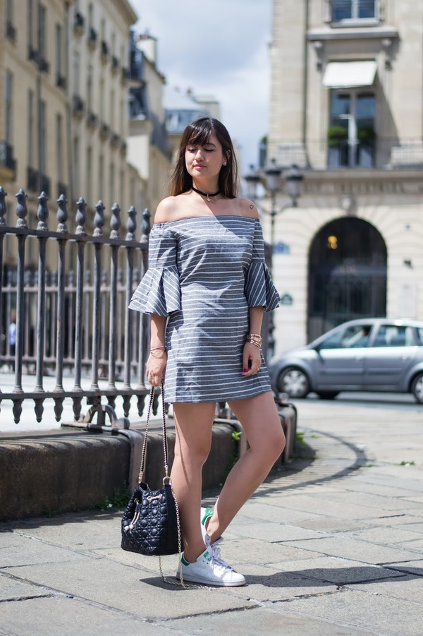 meet me in paree blogger dress bag shoes bardot dress stripes striped dress mini dress bell sleeves bell sleeve dress off the shoulder off the shoulder dress black choker choker necklace black neckalce three-quarter sleeves bucket bag black bag adidas shoes adidas stan smith low top sneakers white sneakers sneakers