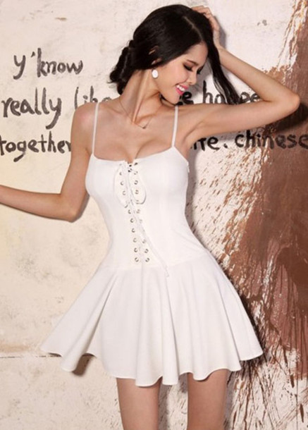 dress white dress white lace dress lace up harness dress clothes skirt shirt blouse top fashion strappy dress cute dress cute