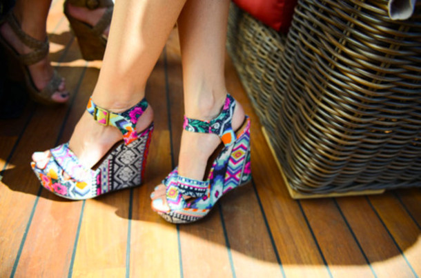 Shoes: aztec, wedges, navajo, aztec design, bows, light blue, high ...
