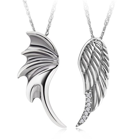 """angel wings"" 925 sterling silver couples necklaces pendants matching set gift for anniversary, birthday, wedding, valentine's day"