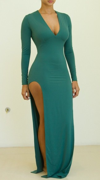 teal dress green dress dress long sleeve dress maxi turquoise dress slit dress longdress dark blue dress dark green dress maxi dress green long sleeved long sleeved dress long sleeved dresses cleavage dress cleavage cleavage dresses split dress split leg