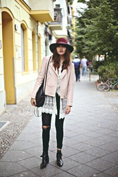 natalie off duty,blogger,jacket,jeans,shoes,t-shirt,ripped jeans,hat,hipster,felt hat