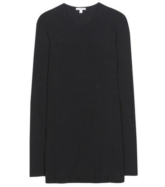 James Perse Cotton-blend Long-sleeved T-shirt in black