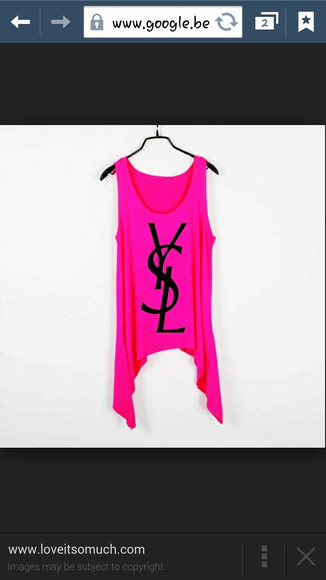 t-shirt pink white black yves saint laurent