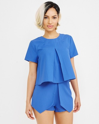 shorts blouse outfit set blue blue outfit pleated high waist shorts
