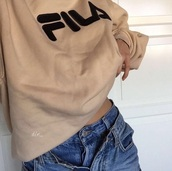 sweater,fila sweater,fila,tan,beige,embroidered,oversized sweater,shirt,sweatshirt,black,tumblr,tumblr outfit,instagram,aesthetic,pullover,pull,sweater weather,jeans,denim,classic,urban,swag,nude,classy,fila jacket,top,swag top,sweats,high waisted jeans,boyfriend jeans,blue jeans,beige sweater,camel,filasweater,vintage fila