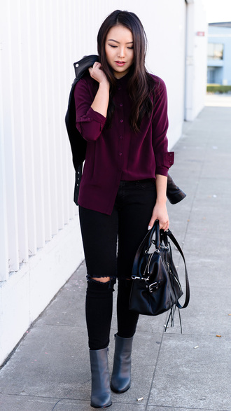 the fancy pants report blogger burgundy sweater black ripped jeans