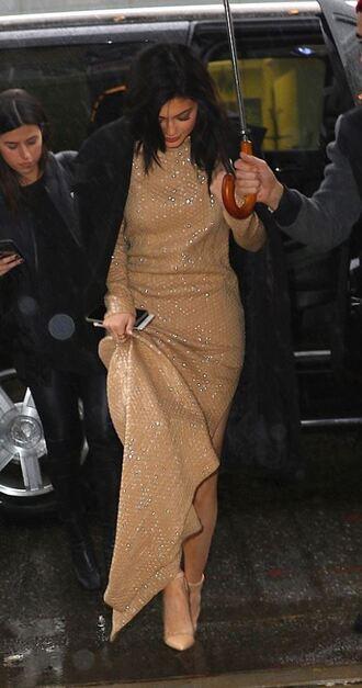 shoes dress gold maxi dress gown kylie jenner