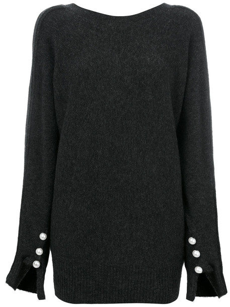 3.1 Phillip Lim sweater women spandex pearl wool grey