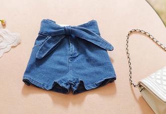shorts it girl shop bow denim shorts cute cute shorts casual kawaii grunge 90s style 90s grunge 80s style hair bow