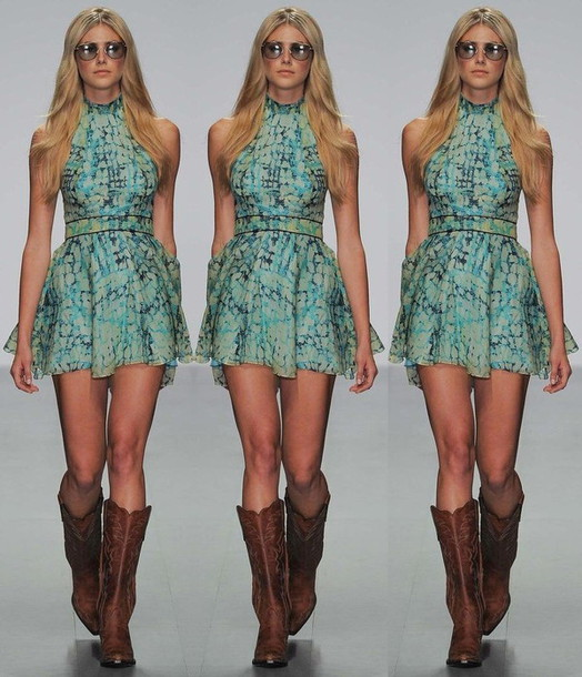 Dress: boots, cowgirl boots, fashion, sunglasses - Wheretoget